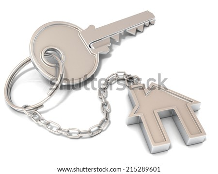 House door key and house key-chain on white background  - stock photo