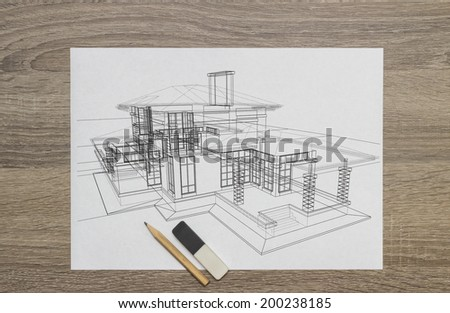 House Drawing - stock photo