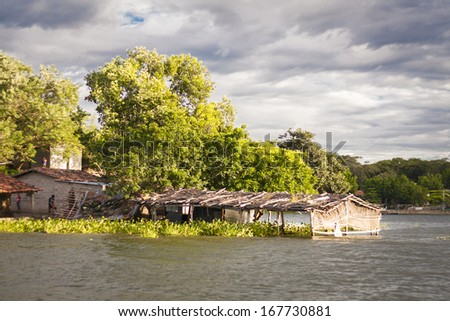 house dweller Salvadoran lake Suchitl�¡n - stock photo