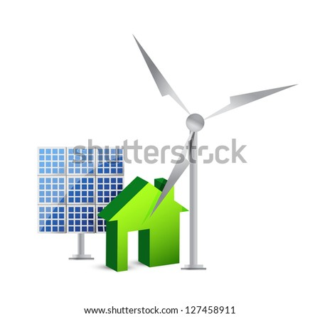 house energy saving concept illustration design over white - stock photo