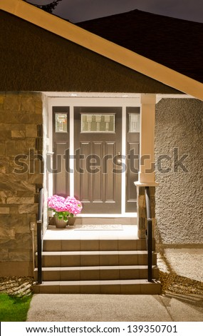 House entrance  at night, dawn time. - stock photo