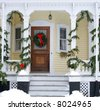 house entrance decorated for holidays - stock photo