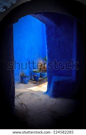 House entrance, part of the blue city, Chefchaouen, Morocco - stock photo