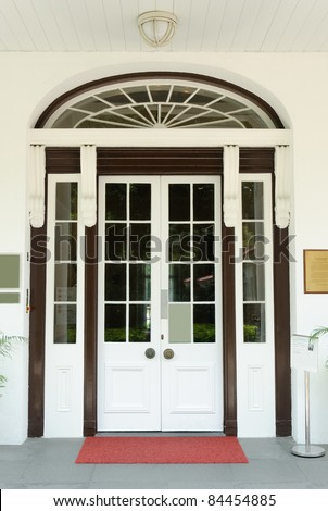House entrance with french door - stock photo