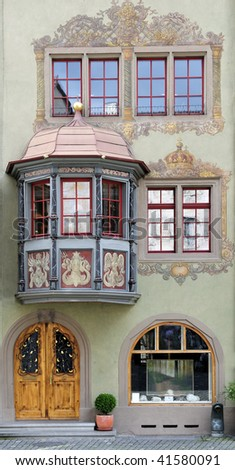 House facade in small town Stein am Rhein, Switzerland