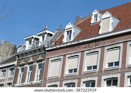 house facade, street view of Maastricht in the netherlands