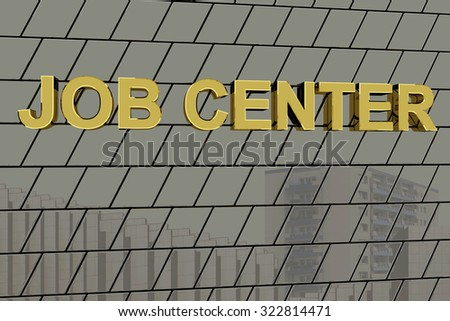 "House facade with golden lettering ""job center"""