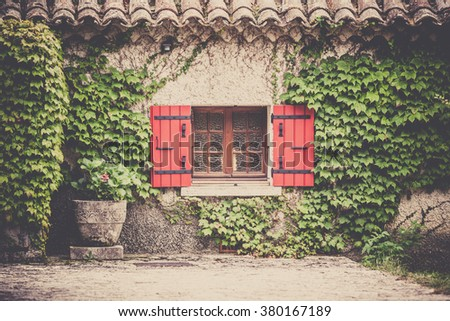 House facade with window and wild grapes plants in Southern France. Horizontal filtered shot - stock photo