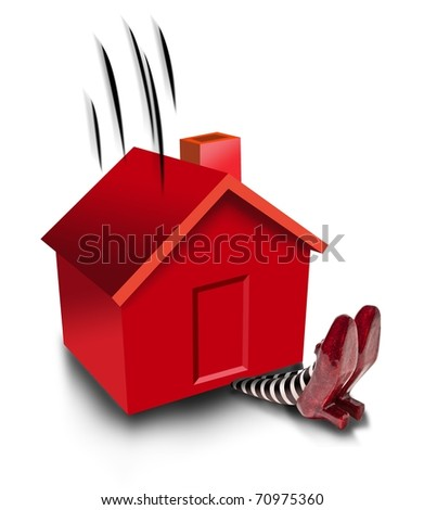 House falling on wicket witch - stock photo