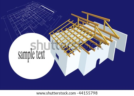 House family plan illustration with 3D construction of house with roof and space for sample text. - stock photo