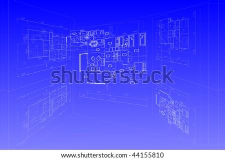 House family plan on blueprint. - stock photo