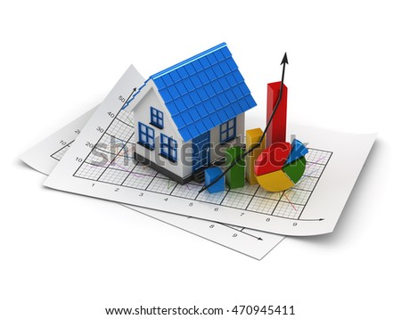 House finance concept , This is a 3d computer generated image. Isolated on white.