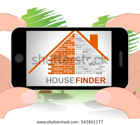 House Finder Phone Indicating Search For And Household 3d Illustration