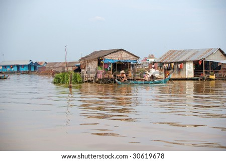 house floating on the Mekong delta Cambodia - stock photo