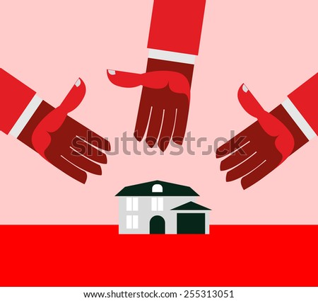 House for debt. Red hands. - stock photo