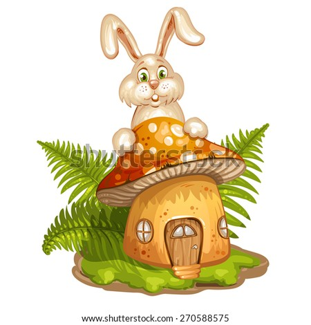 House for gnome made from mushroom and rabbit - stock photo