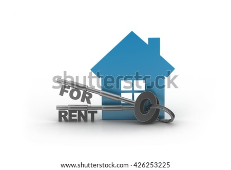House for rent with keys isolated on white background with clipping path. 3d rendering  - stock photo