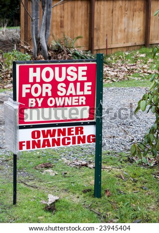 House for Sale by Owner sign.