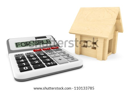 House For Sale Concept. Wooden House with Calculator on a white background - stock photo