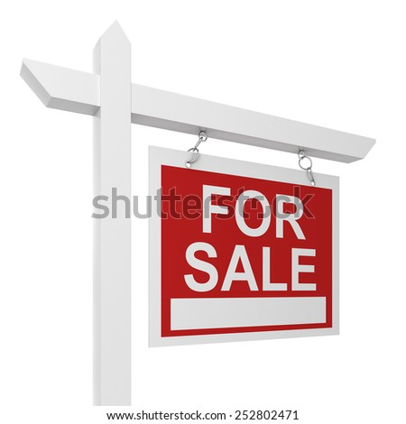 House for sale sign. 3d illustration isolated on white background  - stock photo