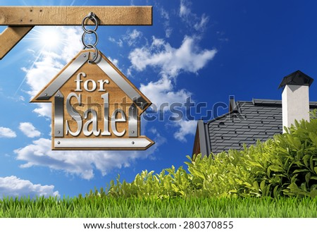House For Sale - Sign Hanging from Chain. Sign in the shape of house with text for sale. For sale real estate sign hanging from a chain a wooden pole on blue sky with roof, clouds and sun rays - stock photo