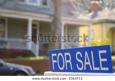 House for sale with for sale sign - stock photo
