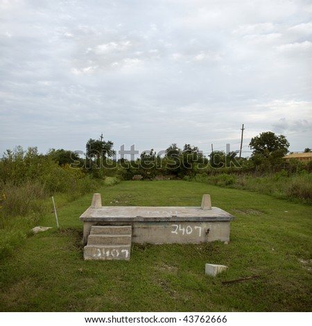 House foundation after Hurricane Katrina, New Orleans, Louisiana - stock photo