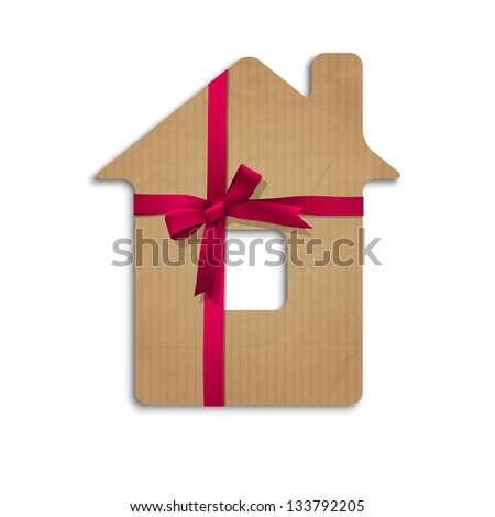 House from cardboard with ribbon and bow. Raster version - stock photo