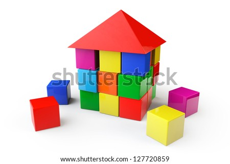 House from children cubes on a white background - stock photo