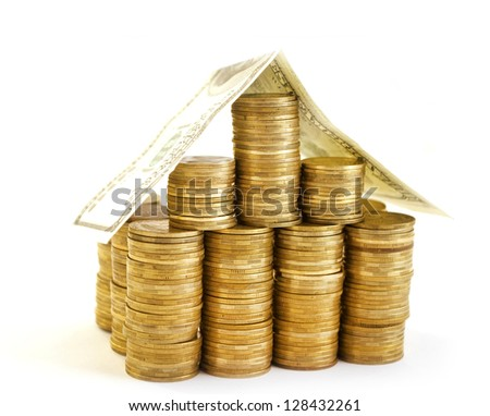 house from coins - stock photo