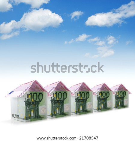 house from euro and blue sky
