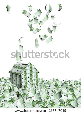 House from euro banknotes and many flying euro banknotes. Isolated on white background - stock photo