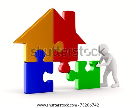 House from puzzle on white. Isolated 3D image - stock photo