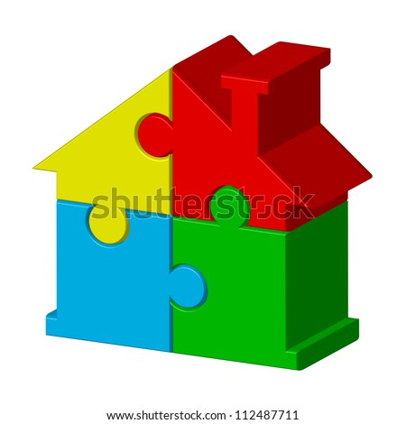 House from puzzles - stock photo