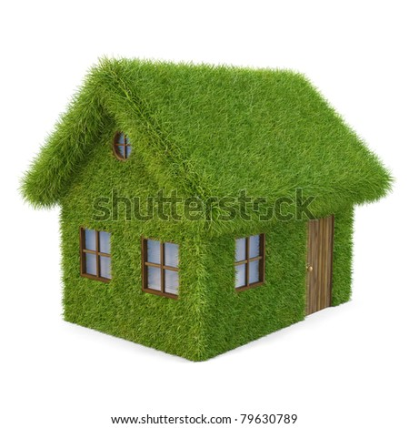 House from the grass. isolated on white. - stock photo