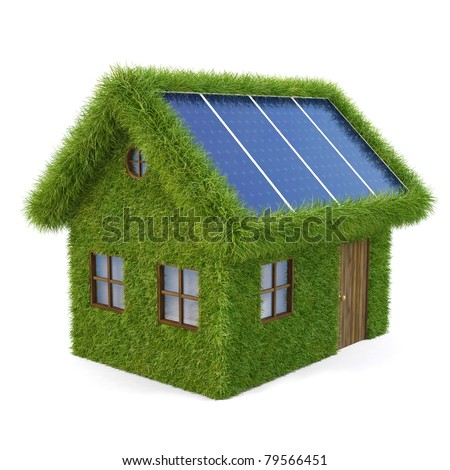 House from the grass with solar panels on the roof. isolated on white. - stock photo