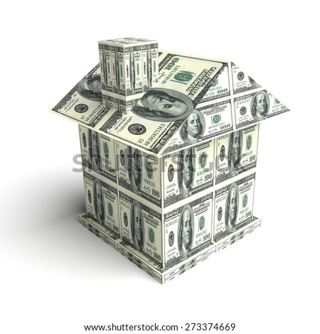 House from the money isolated on white. Business concept - stock photo