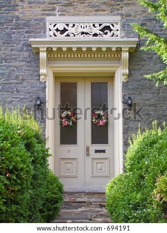 HOUSE, FRONT DOOR - stock photo