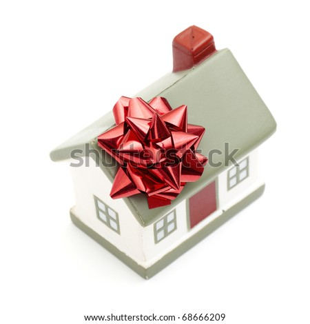 House gift for you isolated on white - stock photo