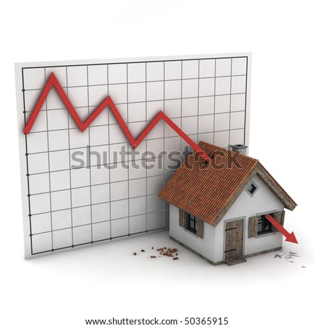 house hit by diagram of real estate market, isolated on white background - stock photo