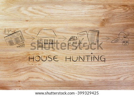 house hunting: browse real estate ads, visit, sign, get the keys - stock photo