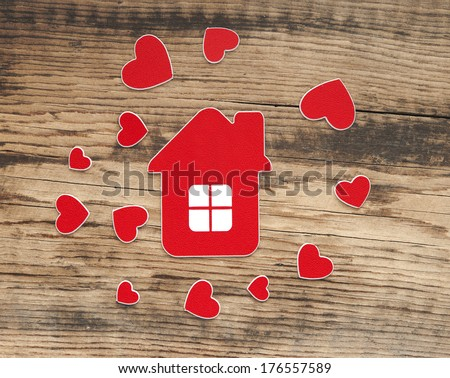 house icon and small hearts. home sweet home - stock photo
