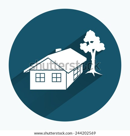House icon. Building household comfort real estate complete symbol. Building with roof, door, windows duct tree. Round sign with long shadow.  - stock photo