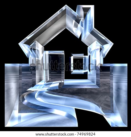 House Icon in glass - 3d made - stock photo