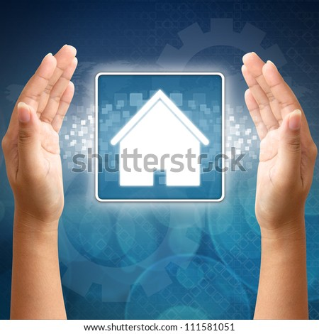 House icon in hand for business