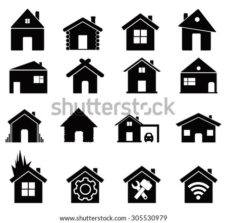 house icon set, black color, for business