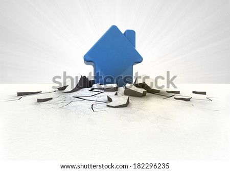 house icon stuck into ground with flare concept illustration - stock photo