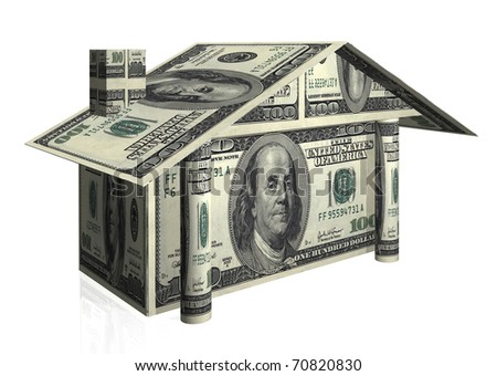 house illustration with notes of dollars - stock photo