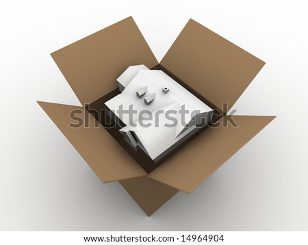 house in a box - stock photo