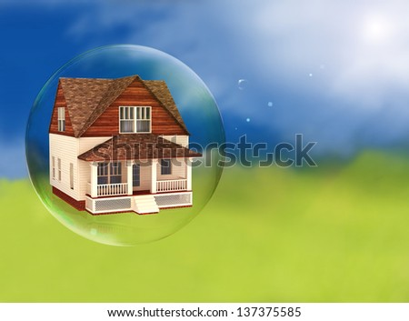 House in a bubble, room for text or copy space. - stock photo